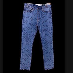 Levi's square design men's blue jeans size 36X34 511 checkered
